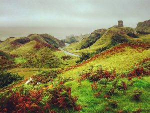 The Completely Magical Fairy Glen on the Spectacular Isle of Skye: Looking across The Fairy Glen