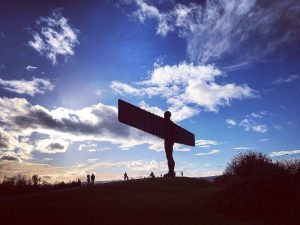 Hoover and I have enjoyed being dwarfed by The Angel of the North in Gateshead